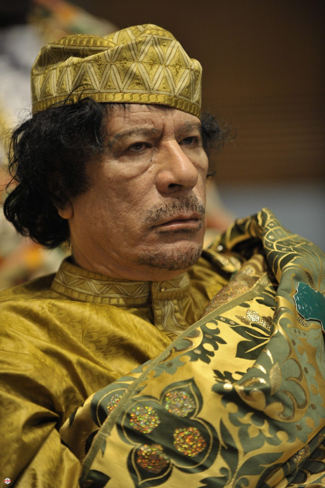 Muammar Qaddafi، the Libyan chief of state، attends the 12th African Union Summit in Addis Ababa، Ethiopia، Feb. 2، 2009. Qaddafi was elected chairman of the organization. (U.S. Navy photo by Mass Communication Specialist 2nd Class Jesse B. Awalt/Released)