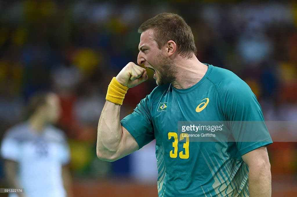 during the Men's Quarterfinal Handball contest at Future Arena on Day 12 of the Rio 2016 Olympic Games on August 17، 2016 in Rio de Janeiro، Brazil.